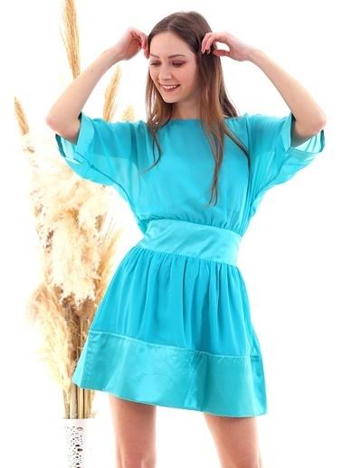 Cottonmood 20050519 Şifon Saten Garnili Yarasa Kol Elbise Mint Yesili Yeşil